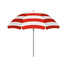 Beach Umbrella Icon, Flat Style