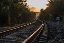 The Train Runs Along The Railr...