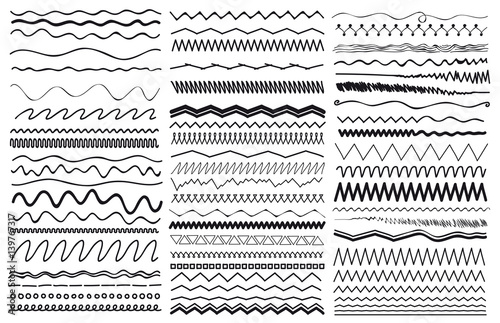 Fotografiet  Set of wavy curved and zig zag criss cross horizontal lines