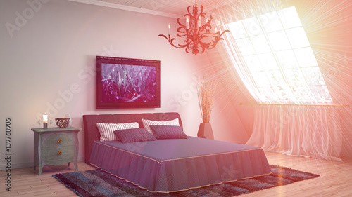 Spoed Foto op Canvas Violet Bedroom interior. 3d illustrationb