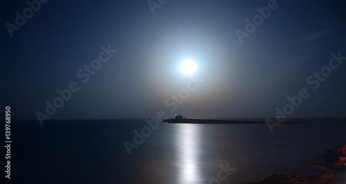 Alba Di Luna Piena Sul Mare Buy This Stock Photo And Explore
