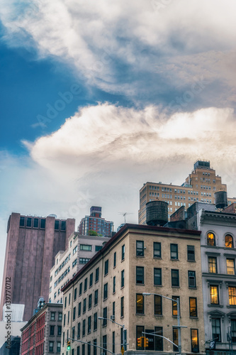 NEW YORK CITY, USA : Buildings and street life on the Manhattan Canvas Print