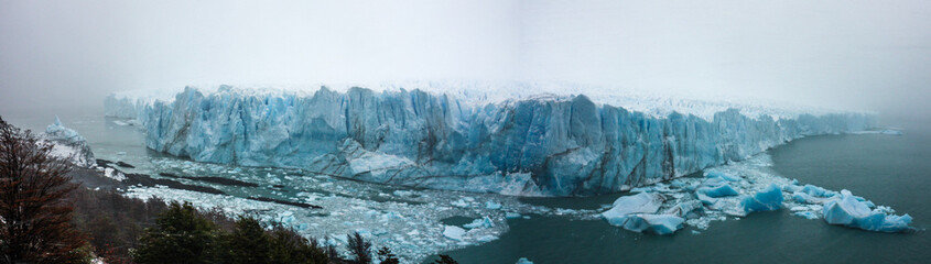 Waterfront on a stormy day at the Perito Moreno Glacier in Patagonia, Argentina.