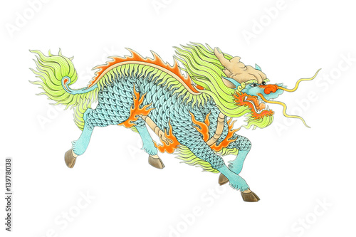 Photographie  Stock Photo - colorful chinese dragon statue on white background