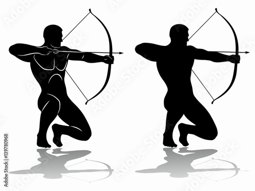 Photo archer silhouette, vector drawing