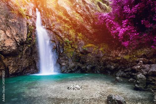 Foto auf Gartenposter Wasserfalle Natural background waterfall. waterfall