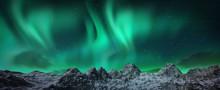 Aurora Borealis Above Snowy Is...