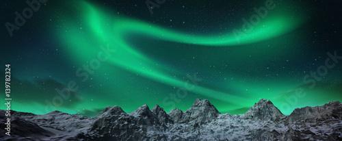 Photo  Aurora borealis above snowy islands