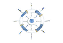Steering Wheel For Ships And Boats. Hand Painted Watercolor . Illustration Isolated On White Background