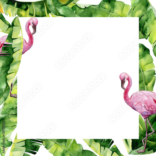 Watercolor Illustration Of Tropical Leaves And Pink Flamingo Banner With Tropic Summertime Motif May Be Used As Wedding Or Greeting Card Invitation Template Holyday Or Birthday Greeting Buy This Stock Illustration Tropical leaves label template exotic branches vector. watercolor illustration of tropical