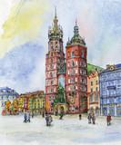 Polska Poznań. Seria ilustracji miast. Akwarela, papier, długopis żelowy - 139789524