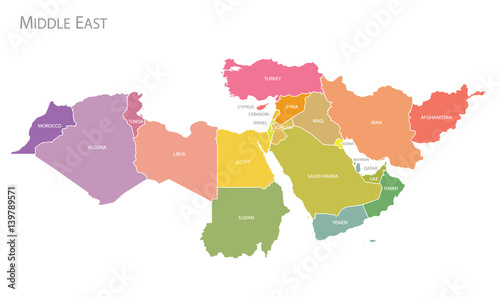 Photo  Map of Middle East.