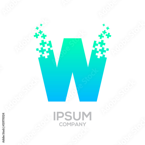 Letter W Pixel logo, Plus sign logo, Medical healthcare