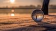 Leinwandbild Motiv Glaskugel im Sonnenaufgang an der Havel in Hennigsdorf Deutschland
