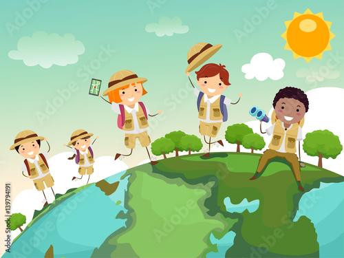 Stickman Kids Geography Globe Explore Canvas Print