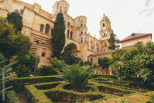 Tuinposter Oude gebouw the sunny life and feelings in Malaga in Spain