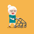 Retired elderly senior age couple in creative flat vector character design. Grandma standing full length smiling. Grandparents with walking stick and paddle walker isolated.