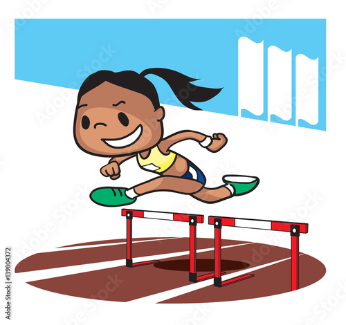 Hurdling race competition. Cartoon character. Vector ...