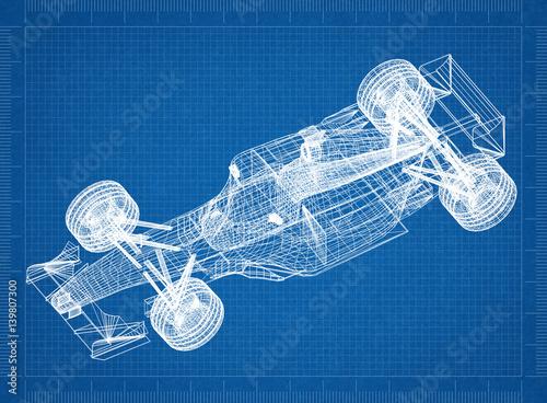 Sport race car blueprint 3d perspective buy this stock sport race car blueprint 3d perspective malvernweather Image collections