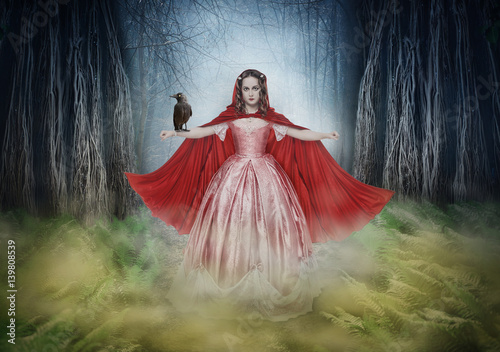 Fototapety, obrazy: Beautiful woman in medieval dress with crow in fantasy forest