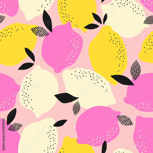 fototapeta na ścianę seamless pattern with citrus fruits