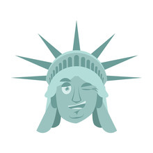 Statue Of Liberty Winks Emoji. US Landmark Statue Face Happyl Emotion Isolated