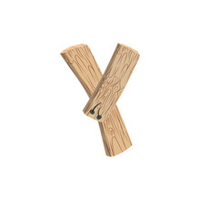 Letter Y Wood Board Font. Plank And Nails Alphabet. Lettering Of Boards. Country Chipboard ABC