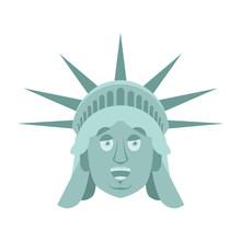 Statue Of Liberty Happy Emoji. US Landmark Statue Face Merry Emotion Isolated