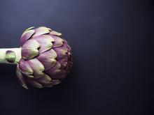 Fresh Globe Artichoke Isolated On Dark Background