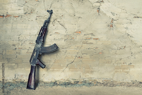 Photo old submachine gun  kalashnikov  AK-47