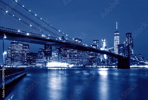 Brooklyn Bridge at night, New York, USA