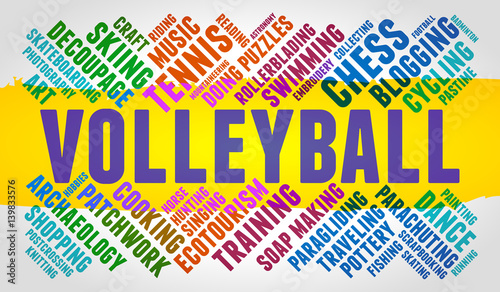 Volleyball  Word cloud, multicolor font, yellow stripe, grey