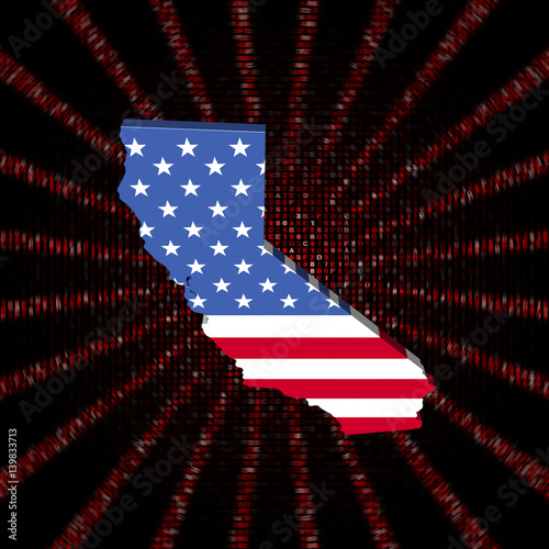Fotografie, Obraz  California map flag on red hex code burst illustration