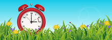 Daylight Saving Time Reminder, Cute Little Red Clock In Spring Summer Grass Scene, From Two To Three O'clock