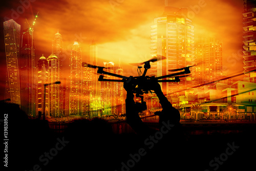 Silhouette drone city scape town recording future photography aerial.