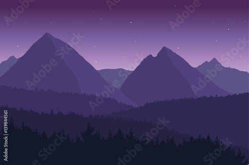 In de dag Aubergine View of the mountain landscape with its forests and hills under a purple sky with stars - vector.