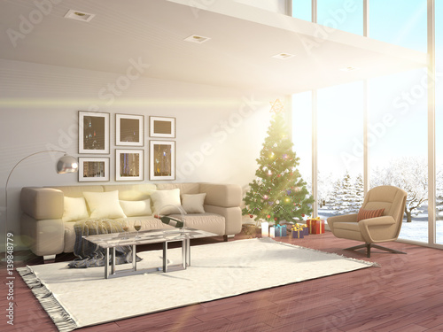 Stickers pour porte Pierre, Sable Christmas tree with decorations in the living room. 3d illustration