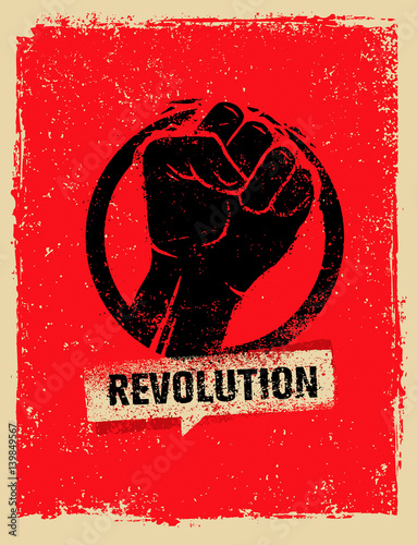 Revolution SocialProtest Creative Grunge Vector Concept on Rough Grunge Backgrou Fototapeta