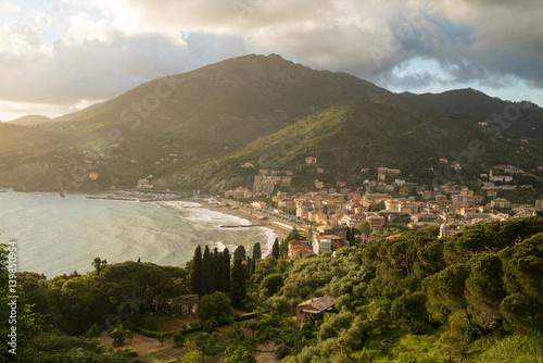 Tuinposter China Scenic coastal city of Levanto in Italy