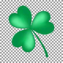 Green Shamrock Leave Icon Isolated On Transparent Background. Happy Patricks Flat Pictogram, Irish Symbol. Vector Illustration.