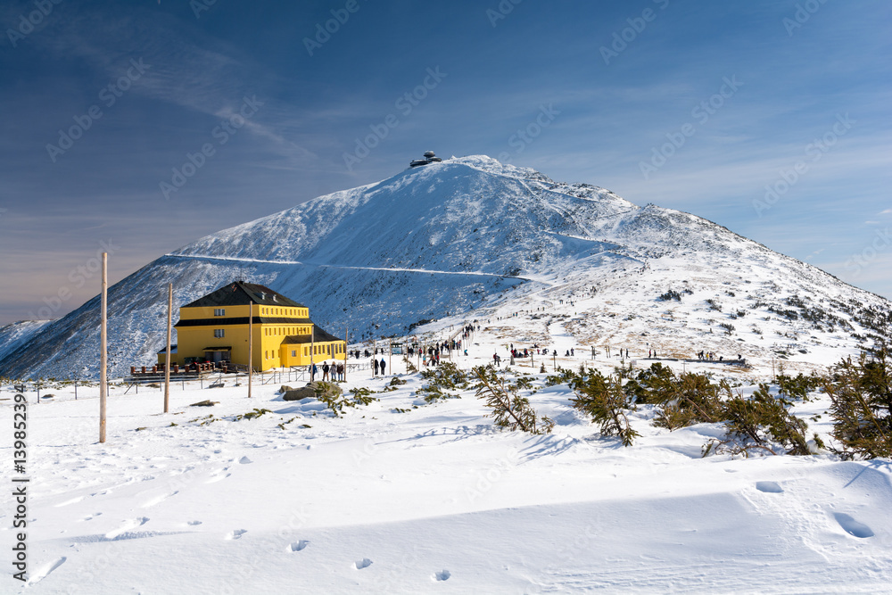 Fototapety, obrazy: Karkonosze / Krkonose Mountains in Winter, Mount Sniezka, Poland, Czech republic