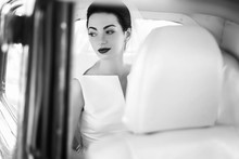 Elegant Handsome Stylish Groom Holding Gently Gorgeous Bride. Unusual Luxury Wedding Couple In Retro Style. Romantic Moment. Black White Photo