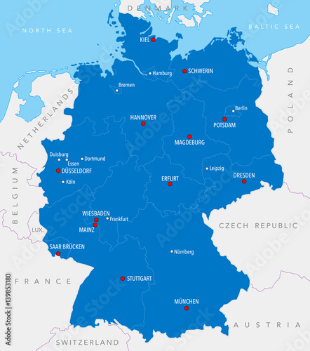 Map of Germany with cities and provinces in blue color – kaufen Sie ...