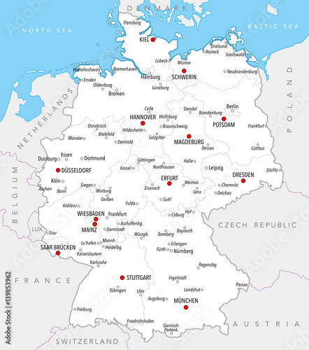 Map of Germany with cities and provinces in bright colors – kaufen Map Of Germany Cities on