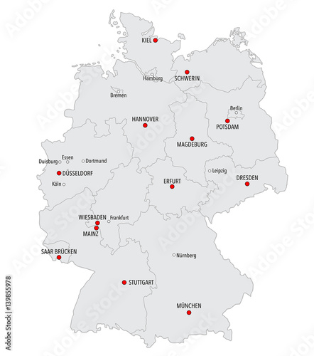 Map Of Germany Major Cities.Map Of Germany With Main Cities And Provinces In Gray Color