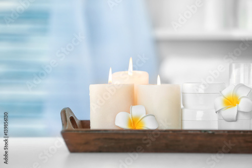 Fototapety, obrazy: Wooden tray with beautiful spa composition on blurred background