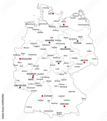Map of Germany with cities and provinces in white color – kaufen Sie ...