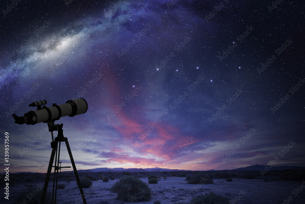 Fototapety, obrazy: telescope in the desert watching the Great Bear constellation and the milky way