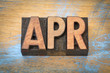 Apr - April month abbreviation in wood type