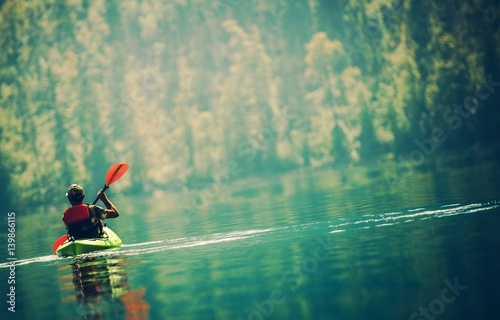 Vászonkép Scenic Kayak Lake Tour